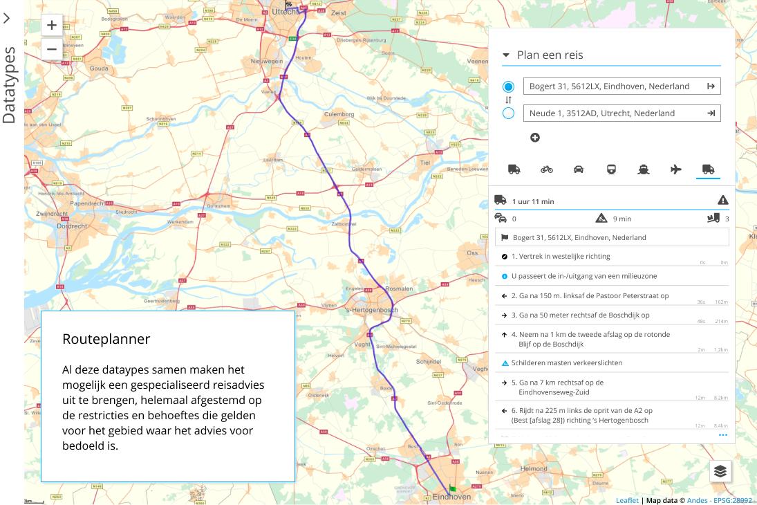Al deze dataypes samen maken het mogelijk een gespecialiseerd reisadvies uit te brengen, helemaal afgestemd op de restricties en behoeftes die gelden voor het gebied waar het advies voor bedoeld is.