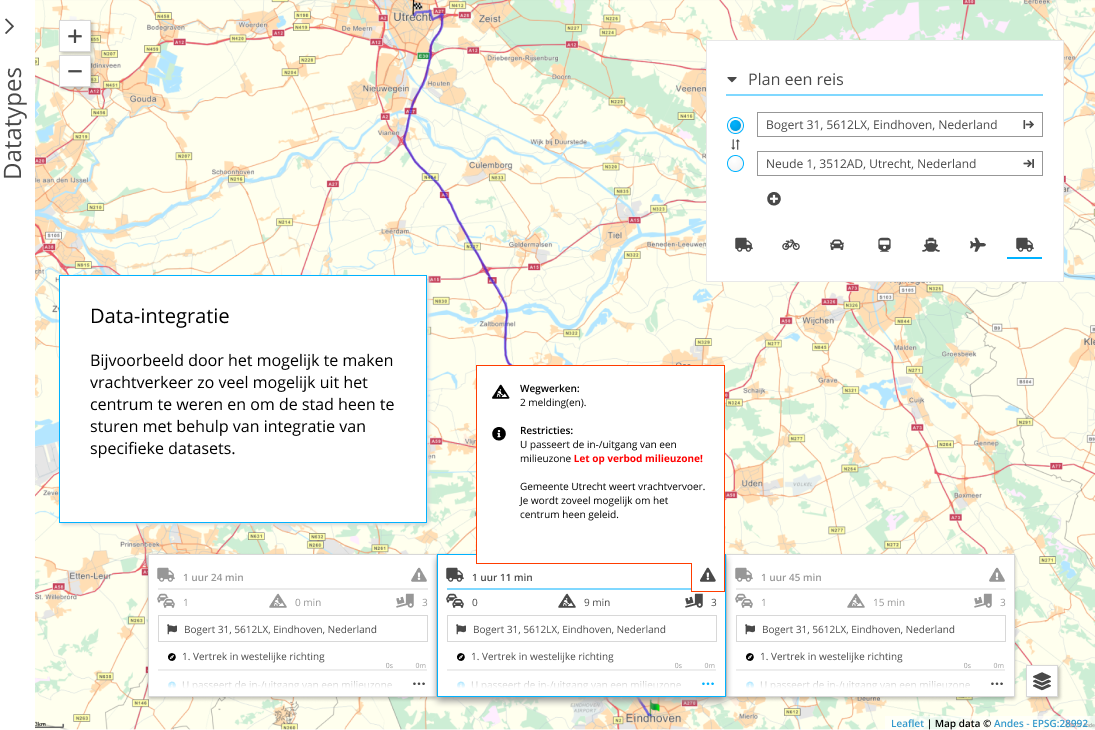Bijvoorbeeld door het mogelijk te maken vrachtverkeer zo veel mogelijk uit het centrum te weren en om de stad heen te sturen met behulp van integratie van specifieke datasets.